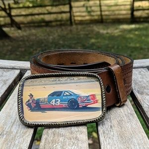 Vintage NASCAR Richard Petty Hand Tooled Leather